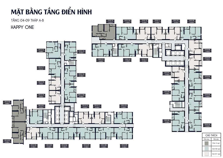 mat bang tang dien hinh happy one central binh duong